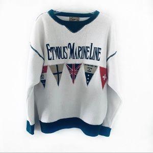 Vintage Etvous Marine Line Men Crewneck Sweater L